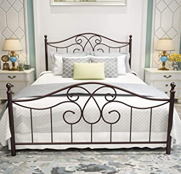 Amazon Com Vintage Sturdy Metal Bed Frame Queen Size With Vintage