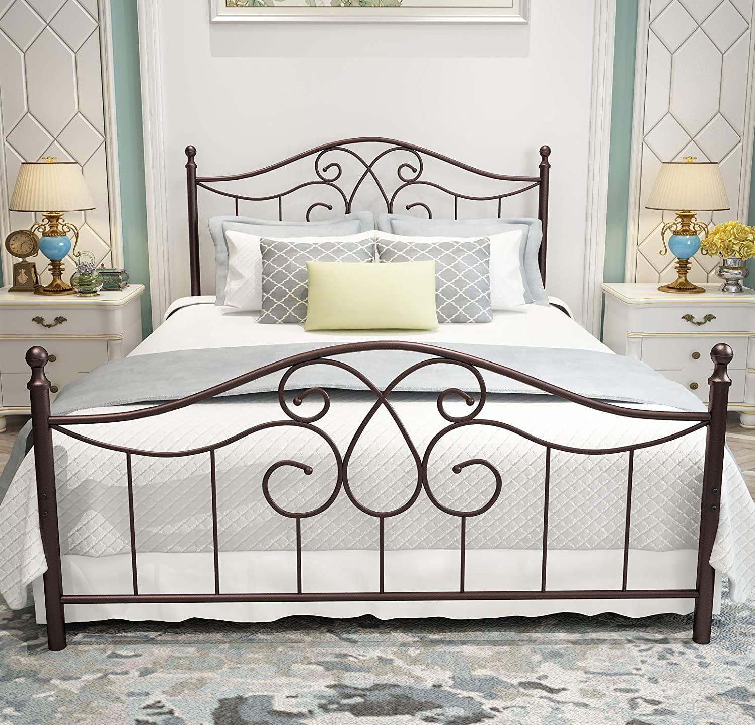Vintage Sturdy Metal Bed Frame Queen Size with Vintage Headboard and Footboard Platform Base Bed Frame No Box Spring Needed Steel Bed Antique Brown Queen.