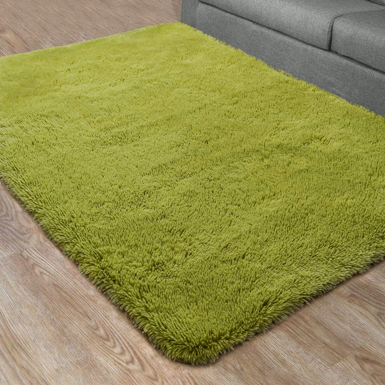 DETUM Soft Bedroom Area Rugs, Fluffy Fur Rug for Living Room Kids Room Nursery Room Mat, Shaggy Plush Carpet for Indoor Floor, Modern Home Decor, 5 x 8 Feet, Green