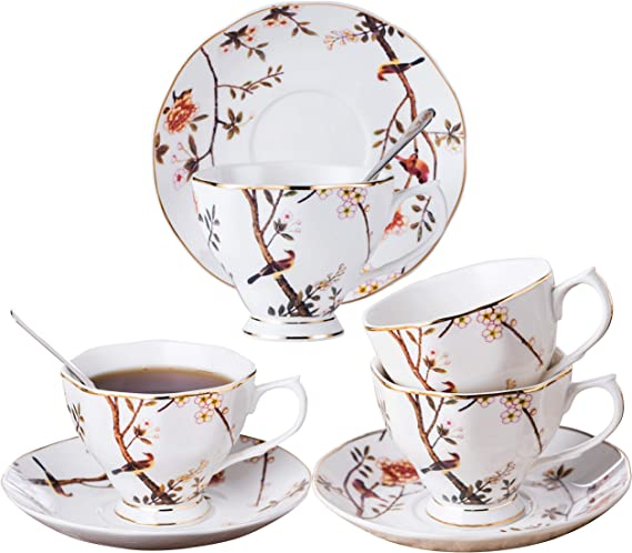 Classic Coffee Design by Yedi Espresso Cups /& Saucers Blue Leaves Set of 6