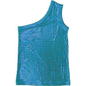 [PRINCESS COCO]ダンス衣装 スパンコール トップス ワンショルダー タンクトップ M(130-140cm) skyblue