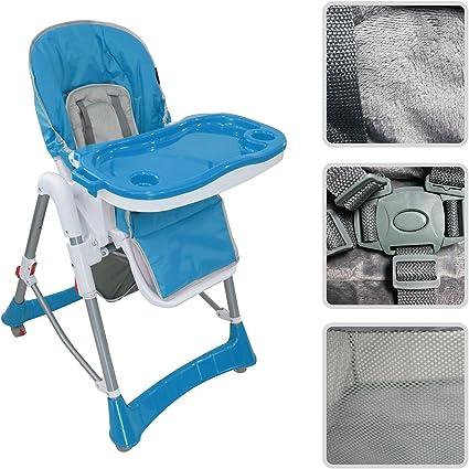 Todeco Chaise Haute pour Bébé, Chaise Pliante pour Bébé Taille déployée: 105 x 75 x 60 cm Matériau: PP Bleu