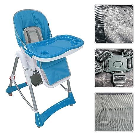 Todeco - Silla Alta de Bebé, Silla Alta de Bebé Plegable - Tamaño desplegada: 105 x 75 x 60 cm - Material: PP - Azul
