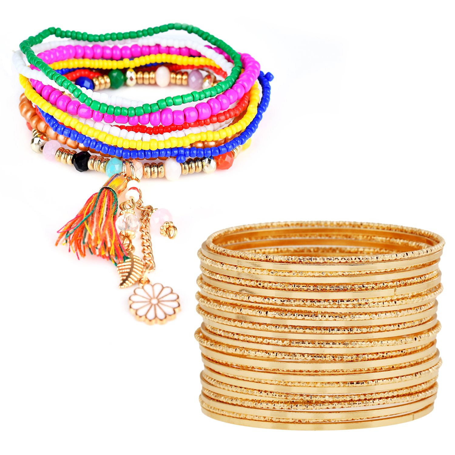 RareLove Set of 27 Multilayer Bangles Bohemian Beaded Bracelet Stretch Strand Golden 2 Style
