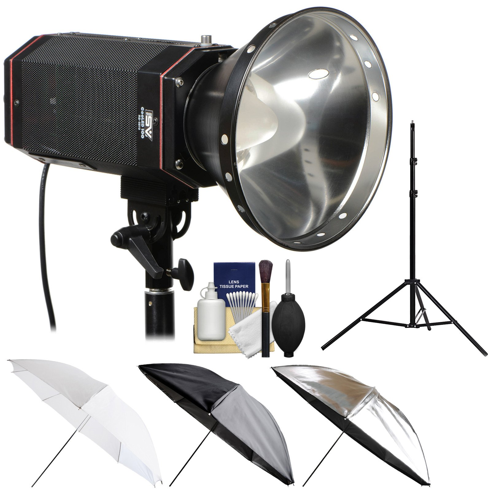 Smith-Victor CooLED100 100W Portable LED Studio Light with Light Stand + 3-in-1 Umbrella Kit