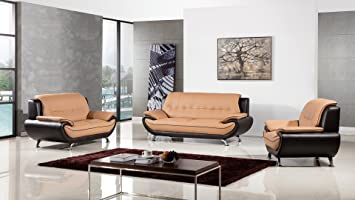 american eagle furniture highland complete 3 piece living room leather sofa set yellowbrown