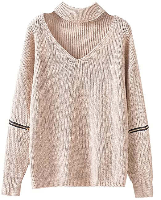2b671bfcac916 Women s Solid Choker V Neck Long Sleeve Loose Knit Sweater Jumper Top (Beige