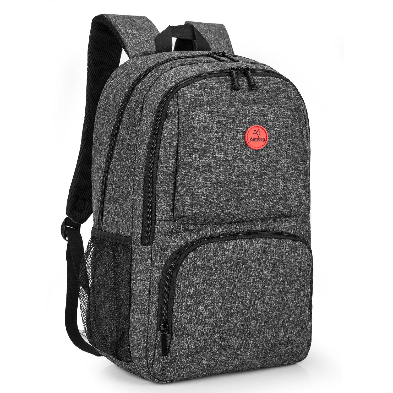 Amzbag Laptop backpack 15.6 Inch Computer Case Travel Rucksack Business Bag With USB Charging Port Water-resistant College Backpack Bookbag For Laptop/Ultra-book/Tablet/Men/Women (Black)