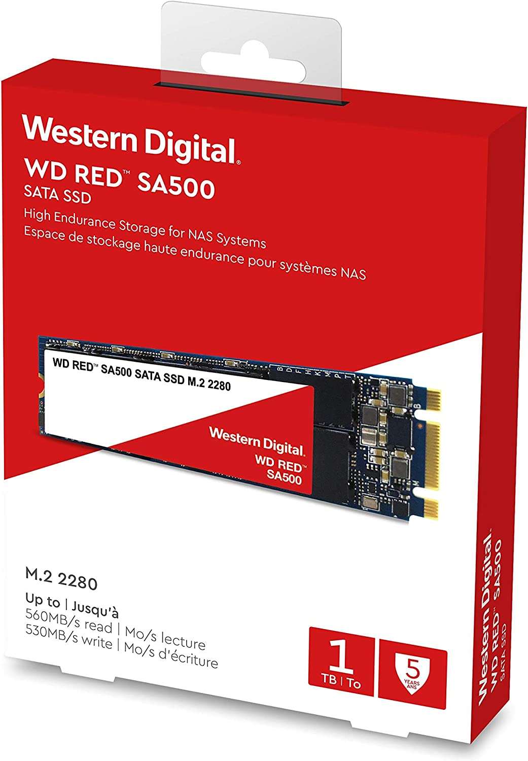 WD Red SA500 NAS 500GB 3D NAND Internal SSD M.2 2280 Up to 560 MB//S WDS500G1R0B SATA III 6 GB//s