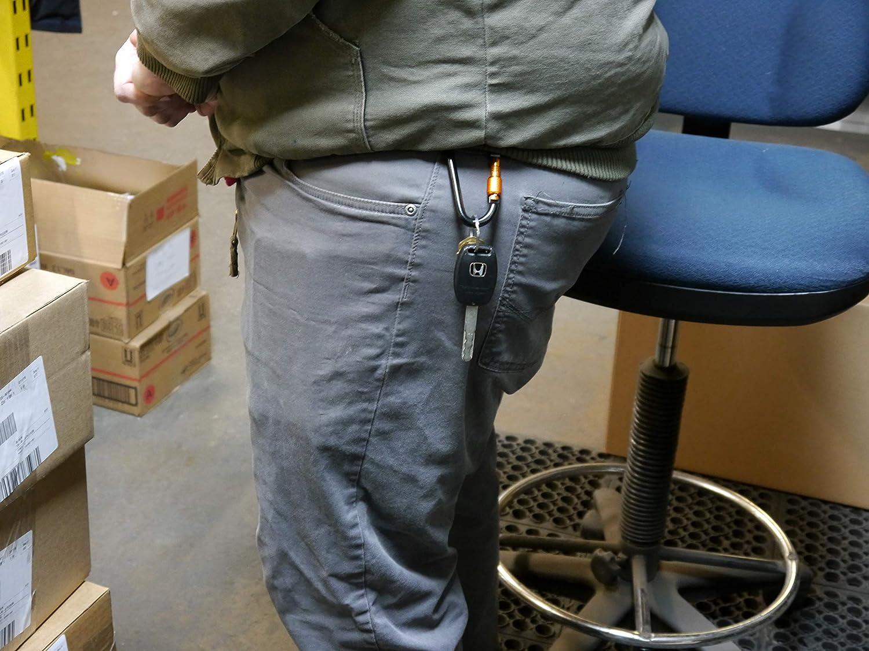 PLX Screw Locking Carabiner Clip Aluminum D-Ring 10 Pack Orange with Black Lock