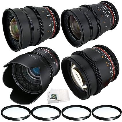 Amazon com : Rokinon 24mm, 35mm, 50mm & 85mm T1 5 Cine Lens Bundle