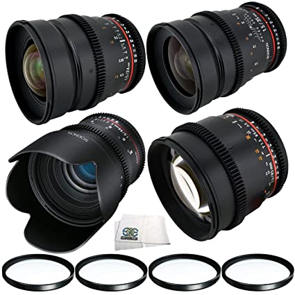 Amazon com : Rokinon 24mm, 35mm, 50mm & 85mm T1 5 Cine Lens