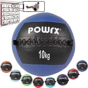POWRX Wall ball Balón medicinal 10 kg - Ideal para ejercicios de ...