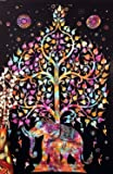 """Popular Handicrafts Tree of Life Psychedelic Tapestry Wall Hangings Elephant Tree of life Tapestry wall art Multi tie dye 54""""x82"""""""