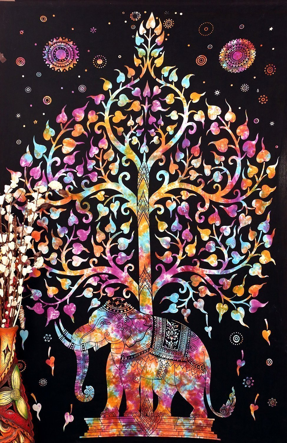 Popular Handicrafts Tree of Life Psychedelic Tapestry Wall Hangings Elephant Tree of life Tapestry wall art Multi tie dye 54''x82''