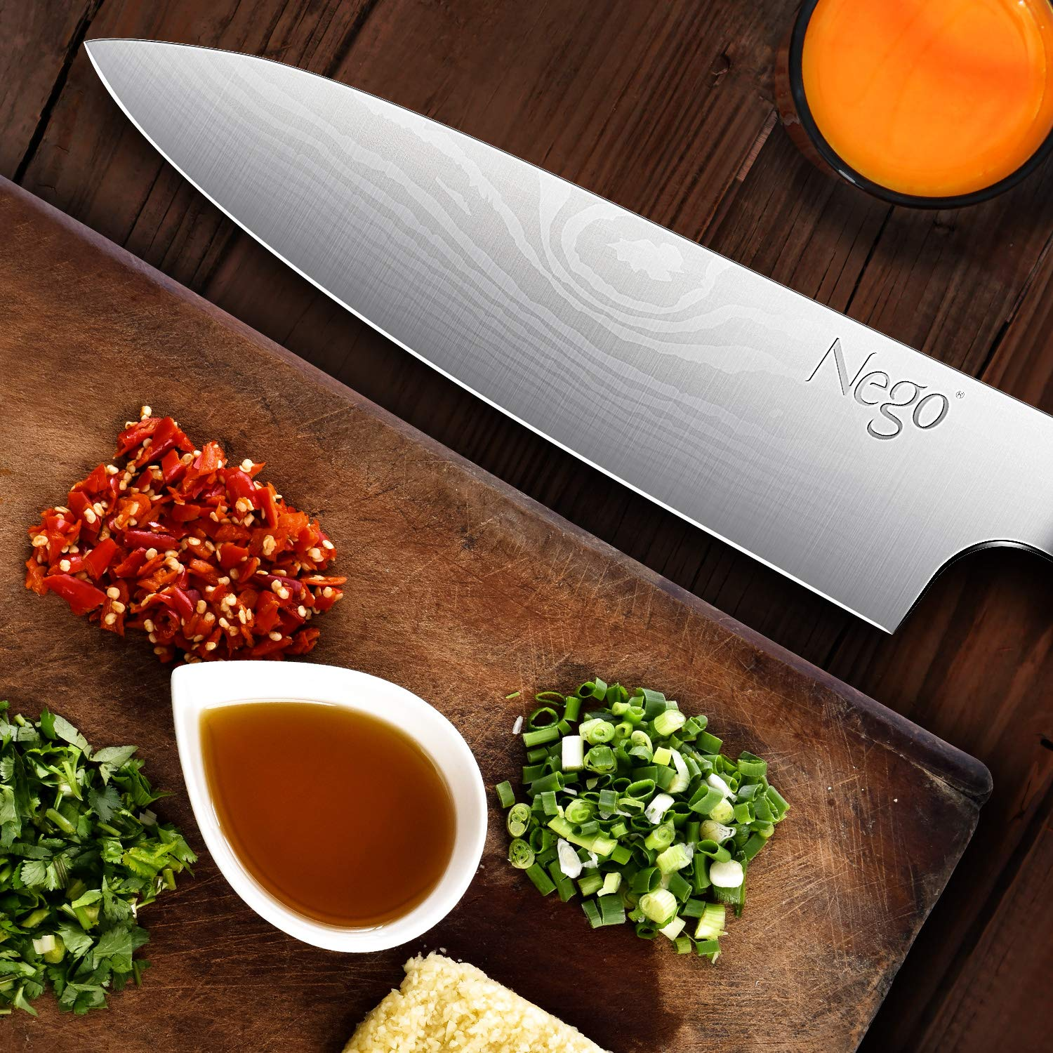Chef Knife - Pro Chef knives 8 inch Cooking knife, German High Carbon Stainless Steel Razor Sharp Blade Stain Resistant, Best Choice for Restaurant and Home Kitchen by Nego (Image #4)