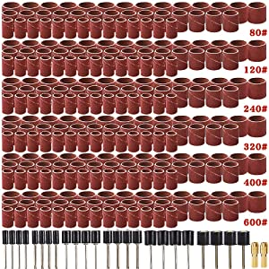 Coceca 458pcs Sanding Drums for Drum Sander,Kit with 432pcs Sanding Band Sleeves 24pcs Drum Mandrels 2pcs Self-Tightening Drill Chuck for Dremel Rotary Tool