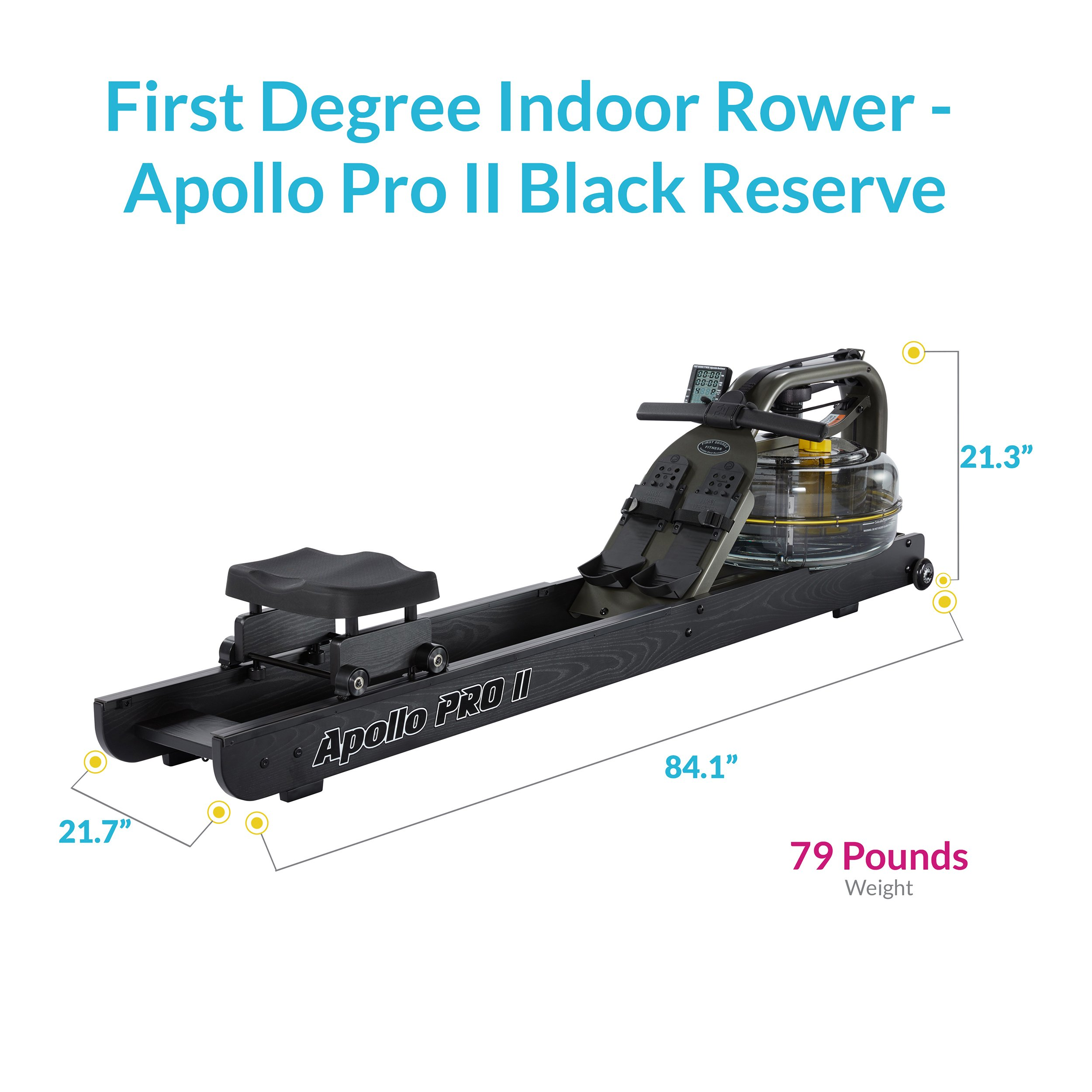 First Degree Fitness Indoor Water Rower with Adjustable Resistance - Apollo Pro II Black Reserve by First Degree (Image #7)