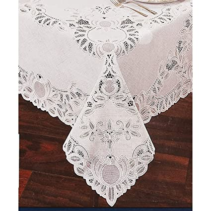 Crochet Lace Vinyl Tablecloth 54 Inch By 72 Inch Oblong (Rectangle),