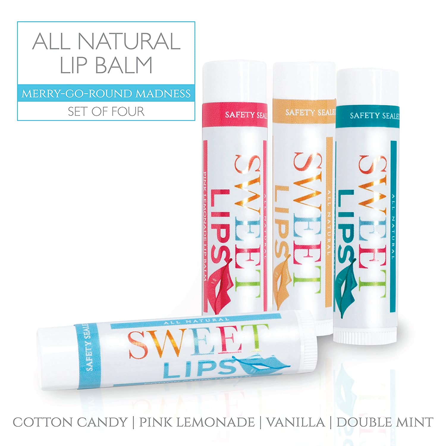 Sweet Lips All Natural Lip Balm by L'AUTRE PEAU | Cotton Candy, Double Mint, Pink Lemonade & Vanilla Flavors - Special 4 Pack Gift Set | Moisturizer (Natural Beeswax) | The Merry-Go-Round Madness Set