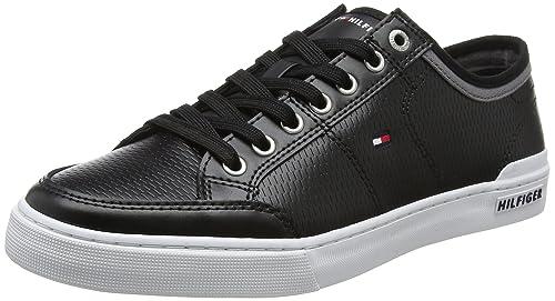 Tommy Hilfiger Core Corporate Leather Sneaker, Zapatillas para Hombre, Negro (Black 990), 44 EU: Amazon.es: Zapatos y complementos