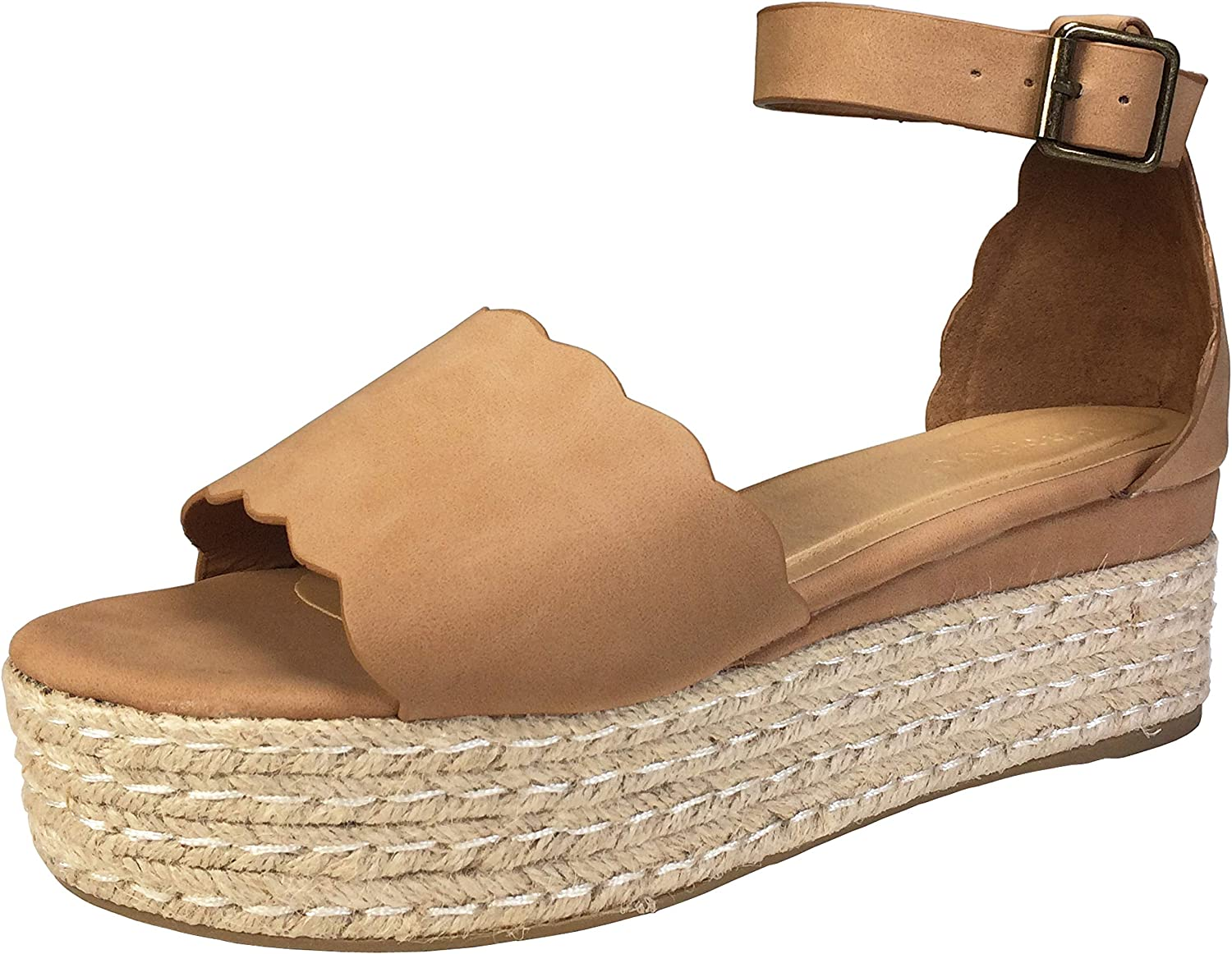 BAMBOO Women's Scallop Edged Single Band Espadrilles Platform Sandal with Ankle Strap