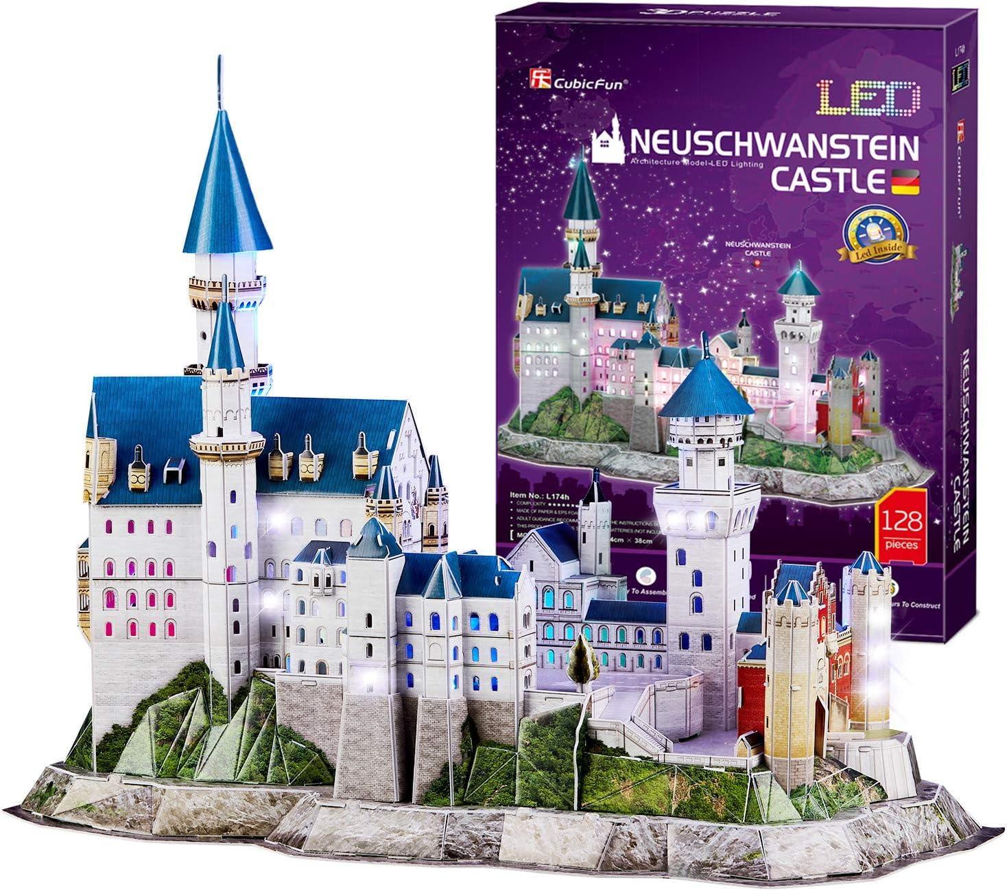 CubicFun Puzzle 3D LED Castillo de Neuschwanstein Alemania Arquitectura Famosa Kits de Edificio Modelo, Souvenir Decoración y Regalos para Adultos y Niños, 128 Piezas