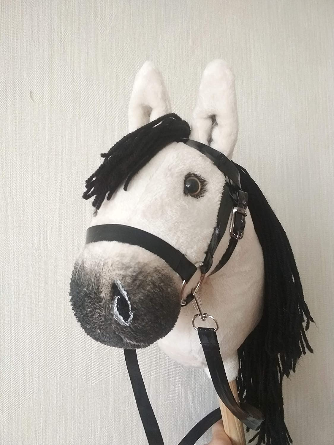 Stick horse with realistic eyes and removable bridle Hobby horse for kids Palomino toy horse