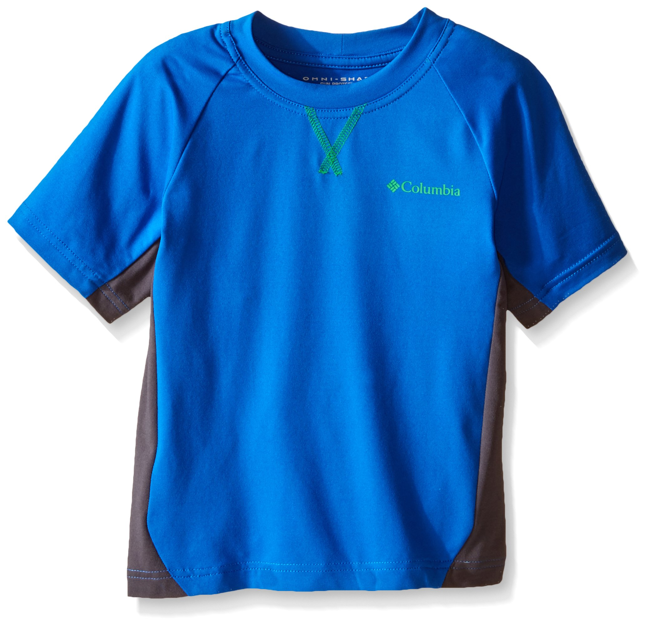 Columbia Boys Silver Ridge Short Sleeve Tee, Super Blue/Grill, X-Small by Columbia