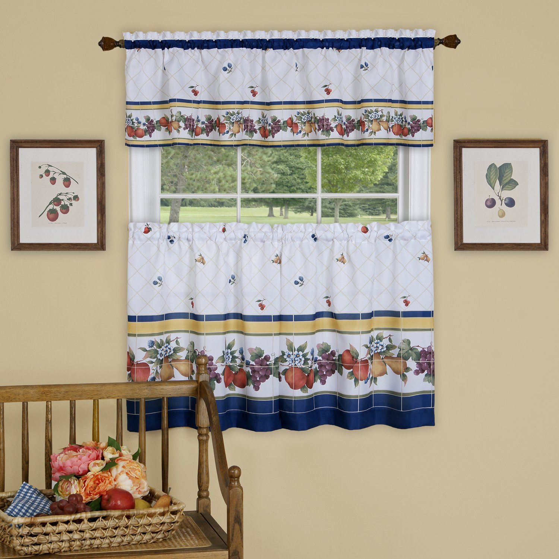 "Achim Home Furnishings Fruity Tiles Window Curtain Tier & Valance Set, 58"" X 36"", Multi, 58 x 36"