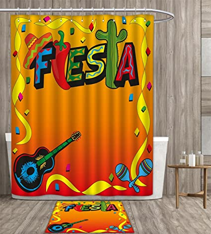 Duommhome Fiesta Shower Curtain Personality Latino Pattern With Swirled Stripe Frame Musical Instruments Confetti Design