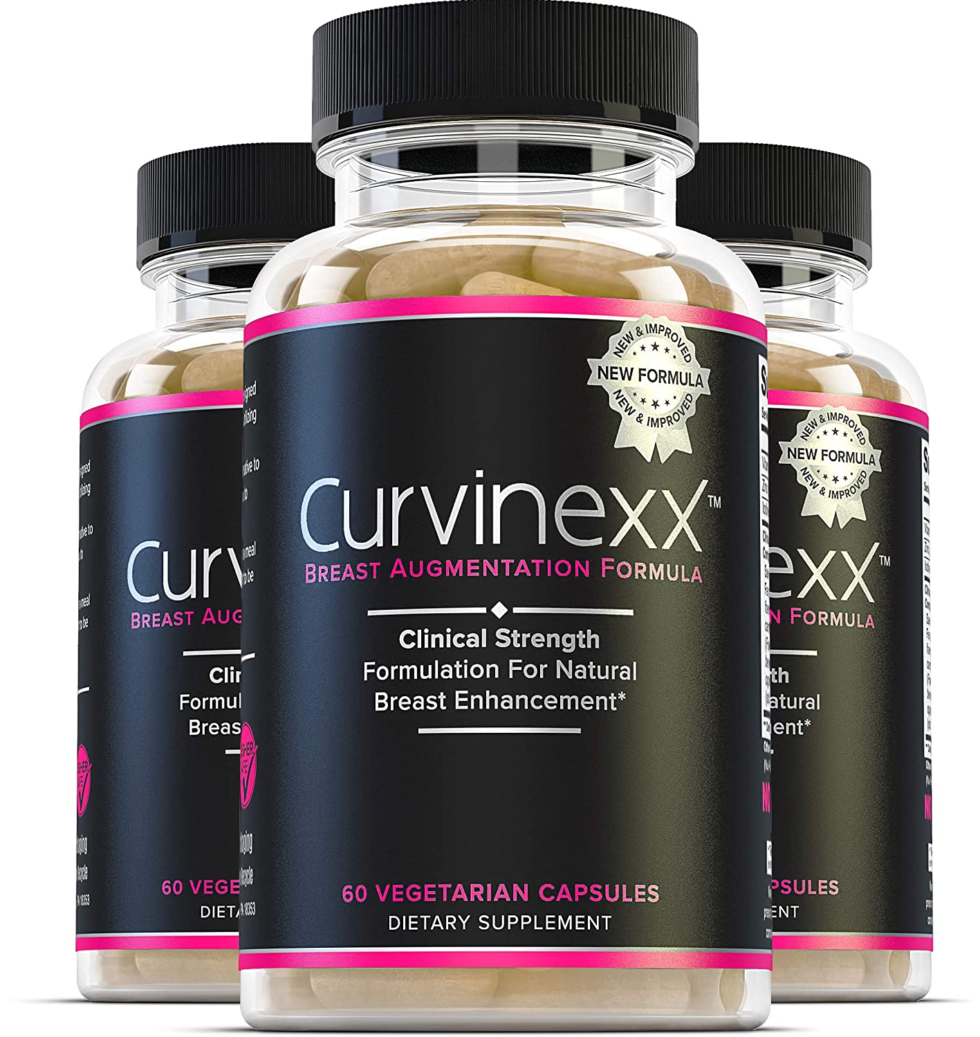 Curvinexx (3 Bottles): The Ultimate Natural Breast Growth and Enhancement Pills   Enlargement Supplement to Boost Your Confidence and Your Curves   With Fenugreek, Blessed Thistle & Dong Quai, 60 Caps