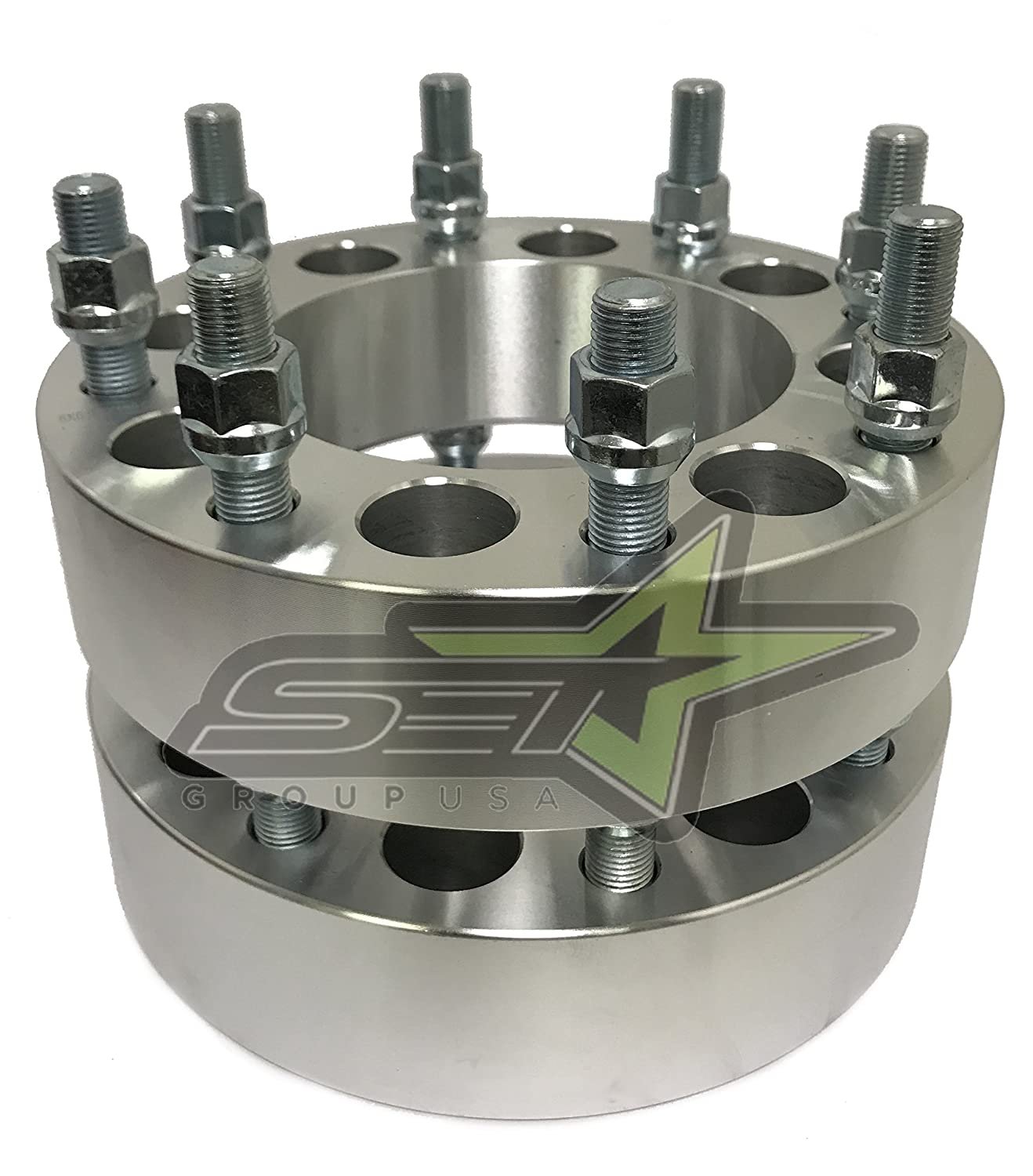 Spacers 2 Inches Thick Use 8x170 Wheels On 8x6.5 Trucks SET Group USA 8x6.5 to 8x170 Wheel Adapters 4