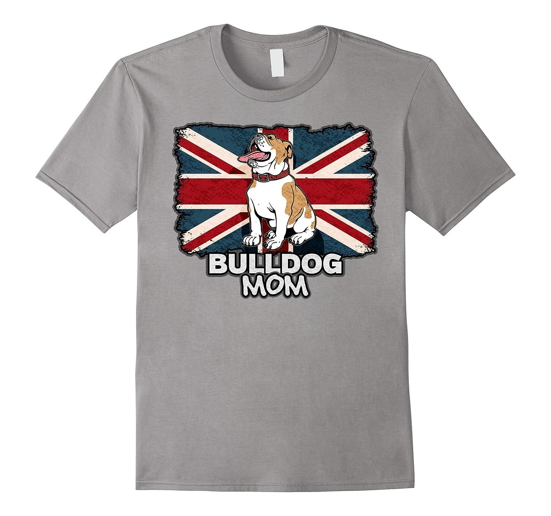 English Bulldog Mom Union Jack British Flag T-shirt-CD