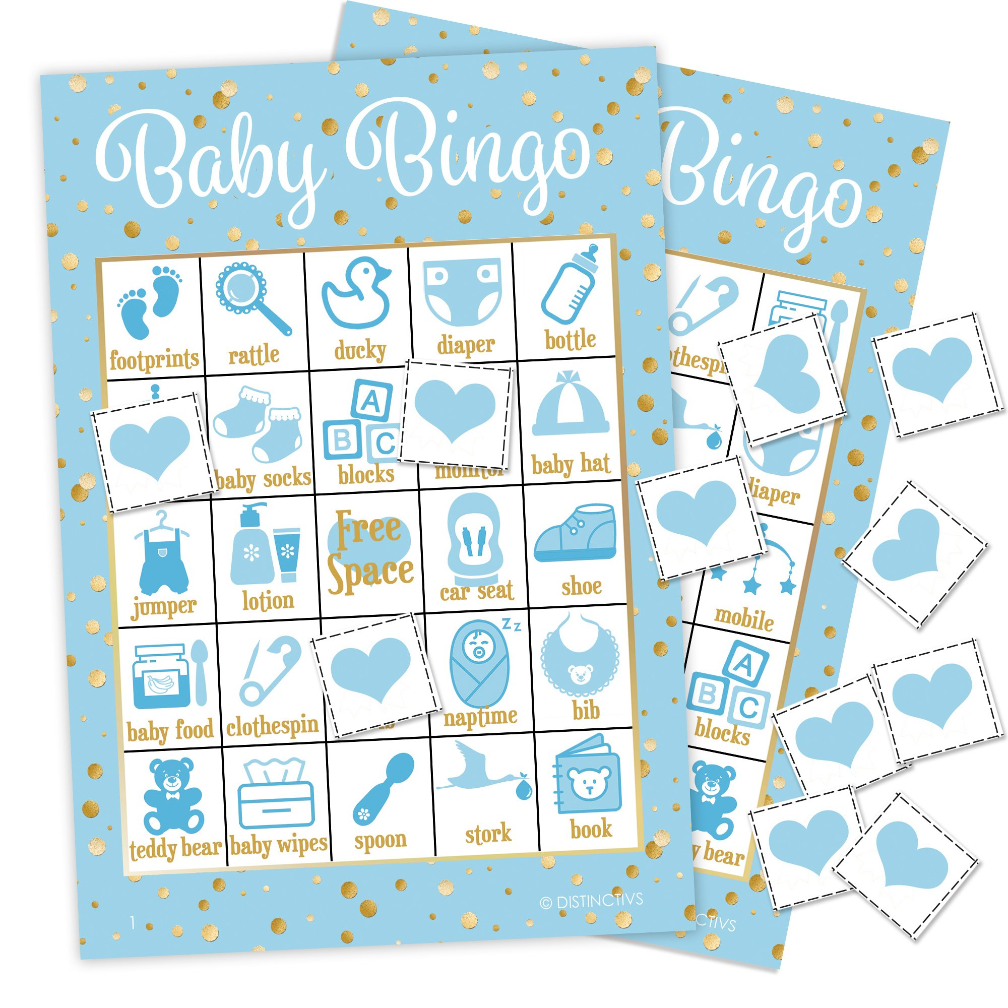 It's a Boy Baby Shower Bingo Game, Blue and Gold - 24 Guests by DISTINCTIVS