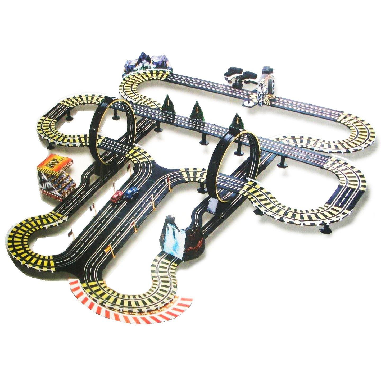 amazoncom kids authority life like mega track set slot car racing set 40 ft of track amg toys games