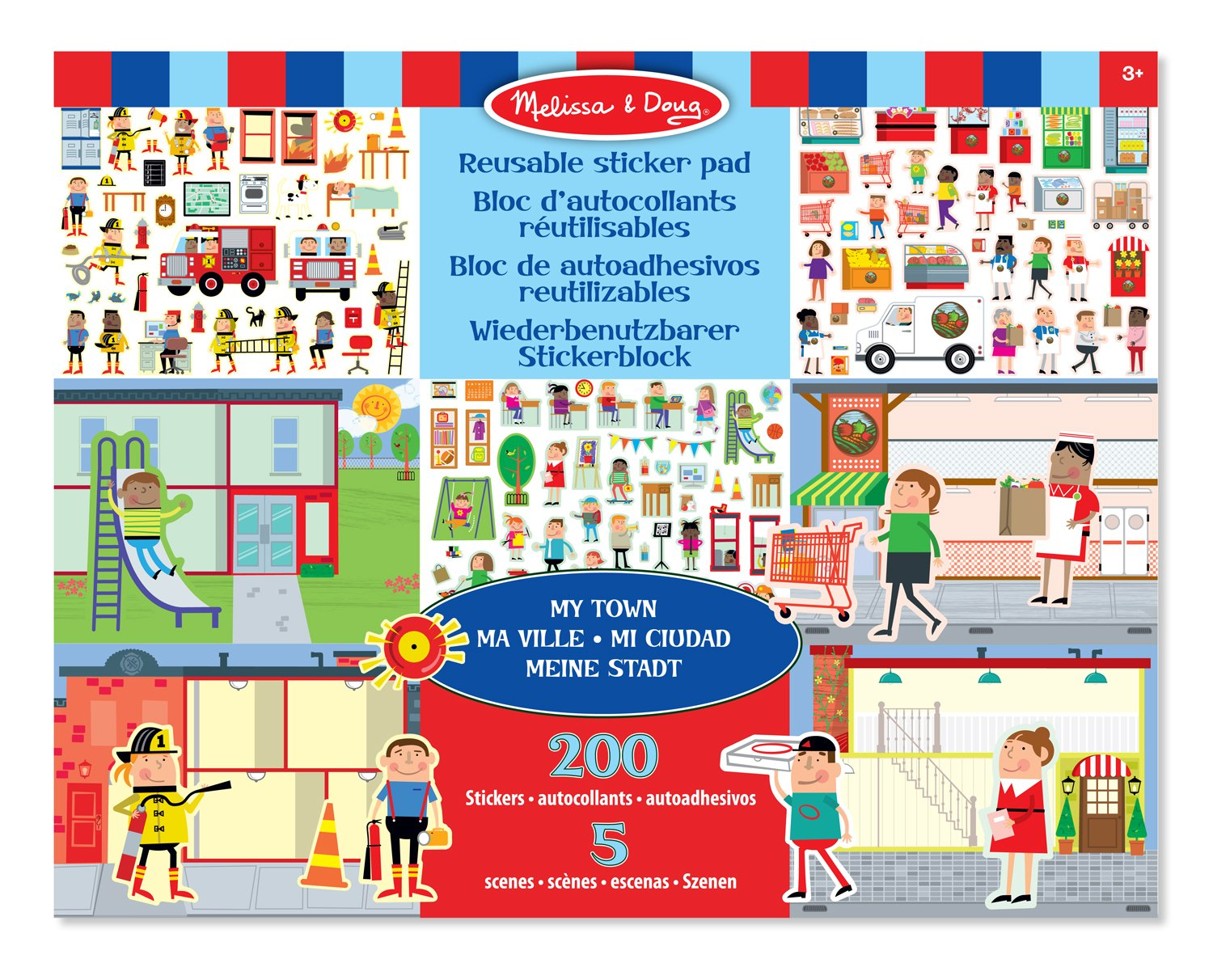 Melissa & Doug Reusable Sticker Pad: My Town - 200+ Stickers and 5 Scenes:  Amazon.co.uk: Toys & Games