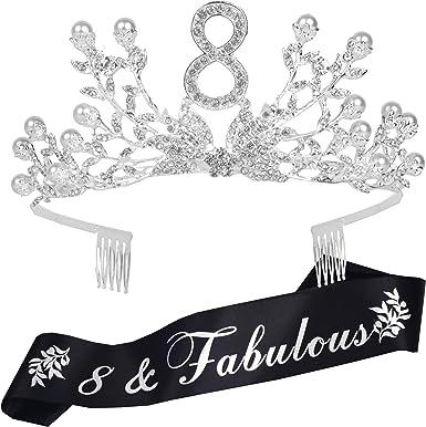 8 Years Party Tiara 12th Birthday Crown 8 Birthday Gifts Birthday Party Accessories 8th Birthday Headband Silver//Glitter Pink