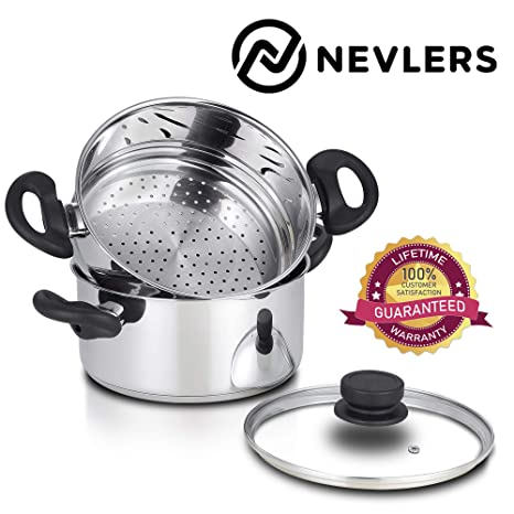 Amazon.com: Nevlers - Vaporera de acero inoxidable de 3 ...