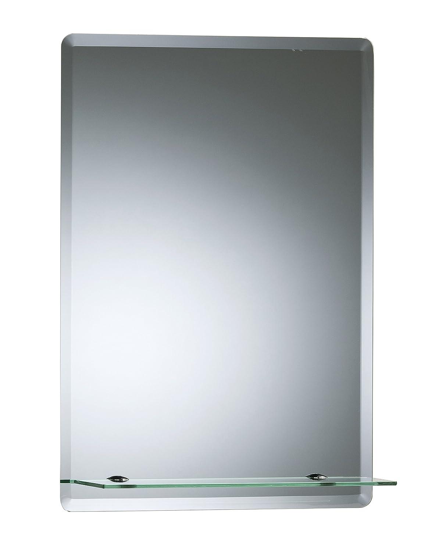 Bellissimo specchio da bagno rettangolare con mensola, moderno ed elegante, doppio vetro, angoli smussati, da parete 60cm x 45cm Neue Design