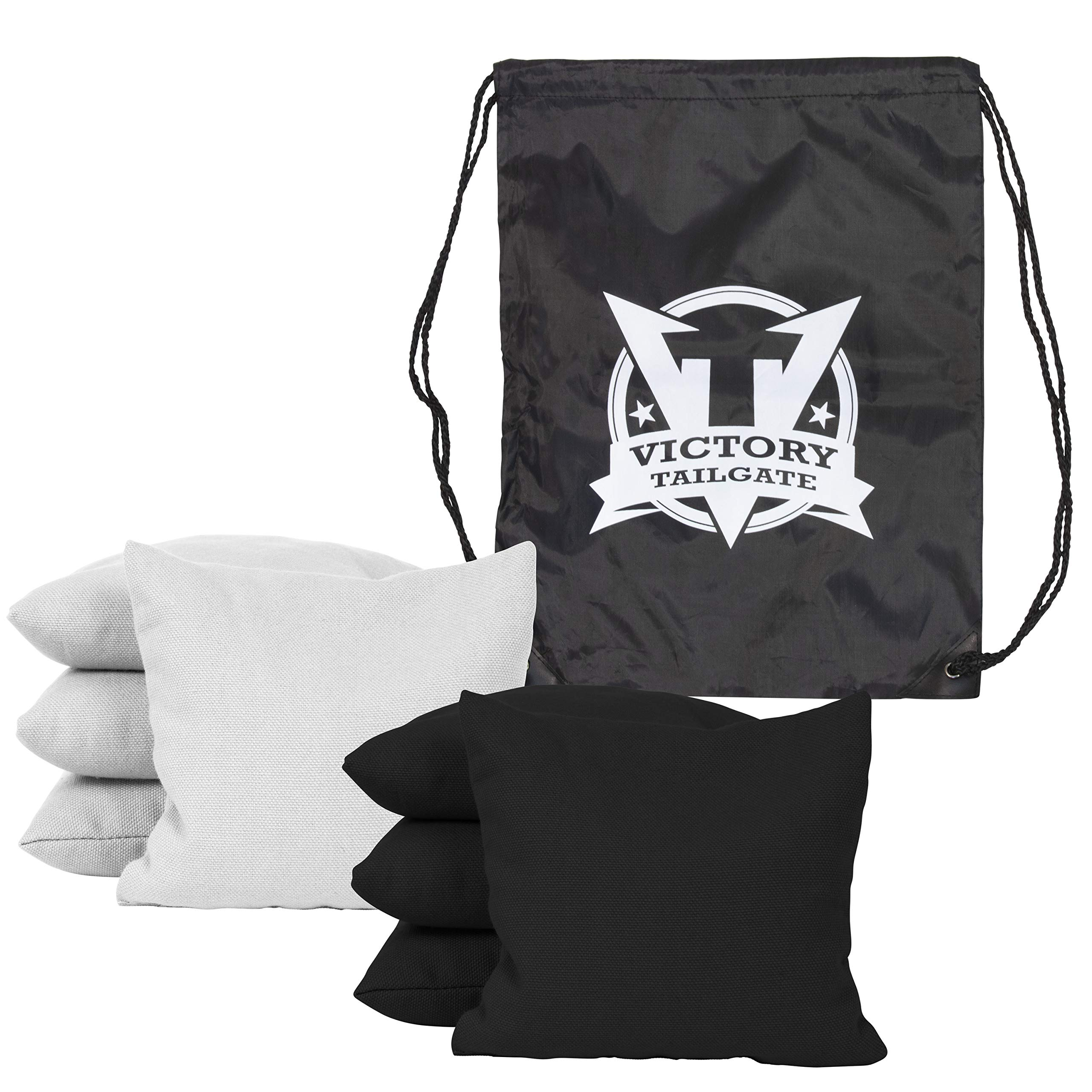 Victory Tailgate 8 Colored Corn Filled Regulation Cornhole Bags with Drawstring Pack (4 Black, 4 White)