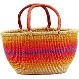 "Fair Trade Ghana Bolga African Gambibgo Two Handle Basket 17-19"" Across, #54397"