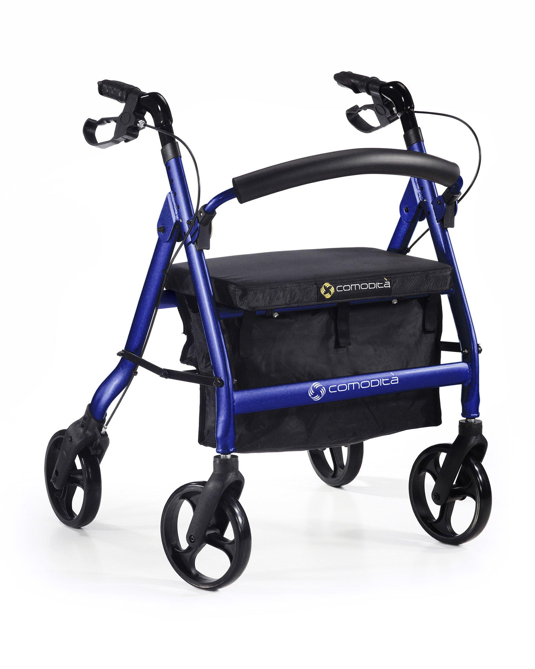Comodità Spazio Extra Wide Heavy-Duty Rolling Walker - Rollator - with Comfortable 18'' Wide Nylon Seat (Metallic Blue)