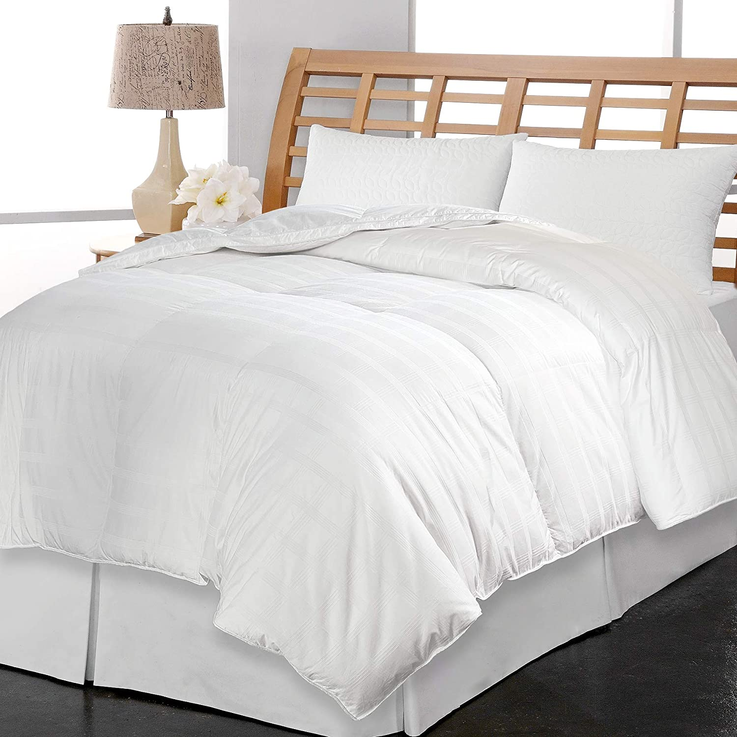 Kathy Ireland 600 Thread Count Windowpane Down Fiber Comforter, Full-Queen, White