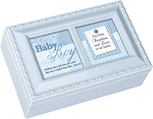 Cottage Garden Baby Boy You Bring Sunshine Love Matte Blue Jewelry Music Box Plays Jesus Loves Me