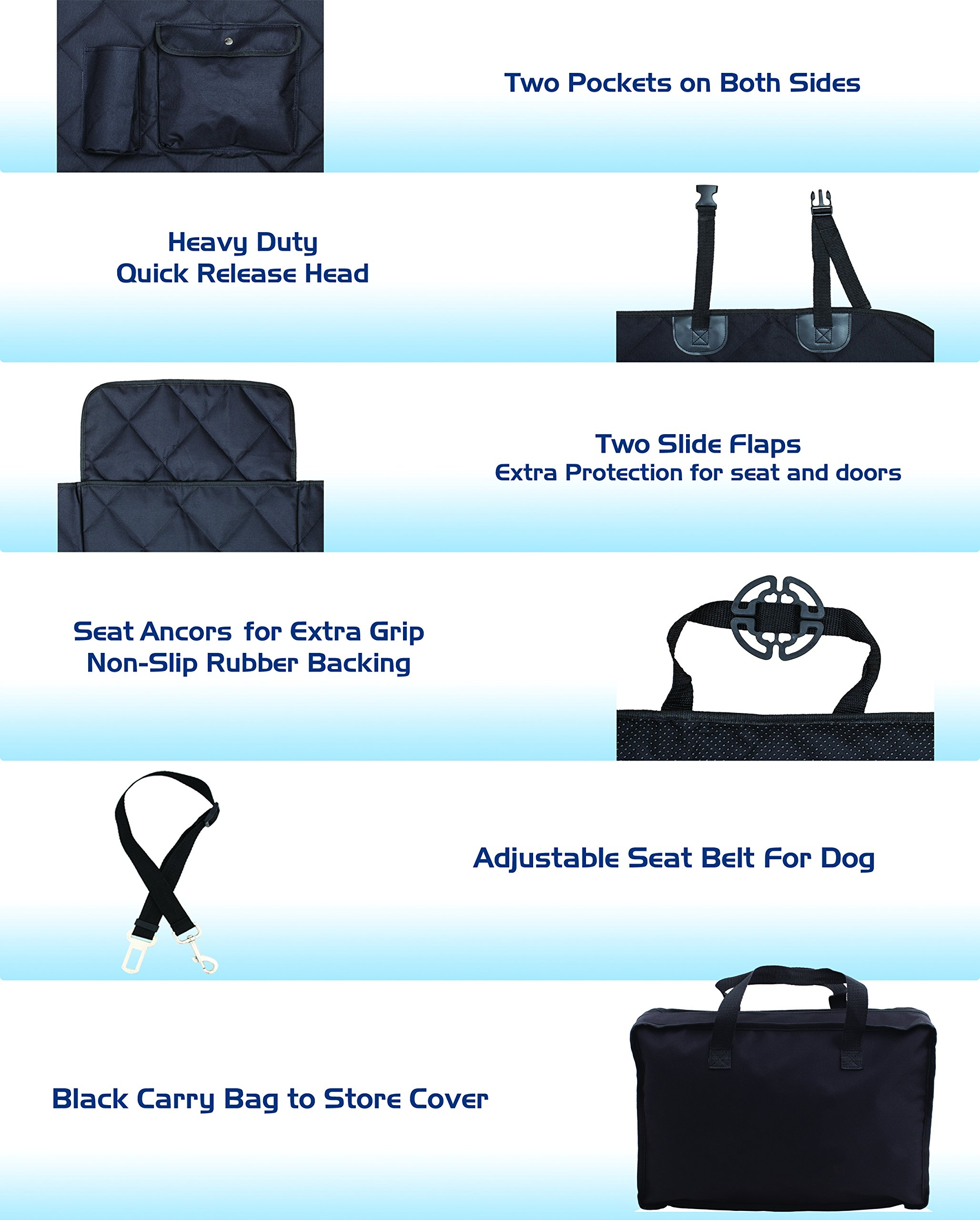 EVOest Dog Car Seat Cover for Cars/Trucks/SUV's,Hammock Convertible, Waterproof Pet Back Seat Protector with Extra Side Flaps, Bonus Pet Seat Belt & Carry Bag (Medium) by EVOest (Image #6)