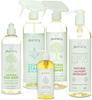 product image for Puracy Natural Home Cleaning Set, Dish & Hand Soap, Surface Cleaner, Laundry Detergent, 102 Ounce