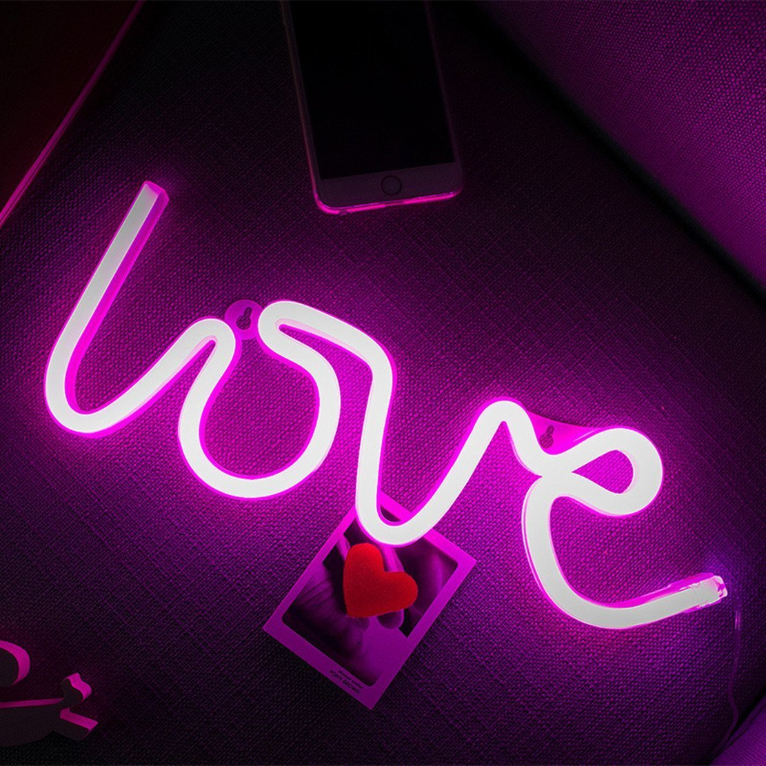 Neon Light,LED Love Sign Shaped Decor Light,Wall Decor for Valentine's Day,Birthday party,Kids Room, Living Room, Wedding Party Decor (purple pink)