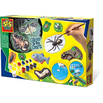 Ses- Set de moldear y Pintar Animales terroríficos Que Brillan en la Oscuridad para niños, (01153): Juguetes y juegos
