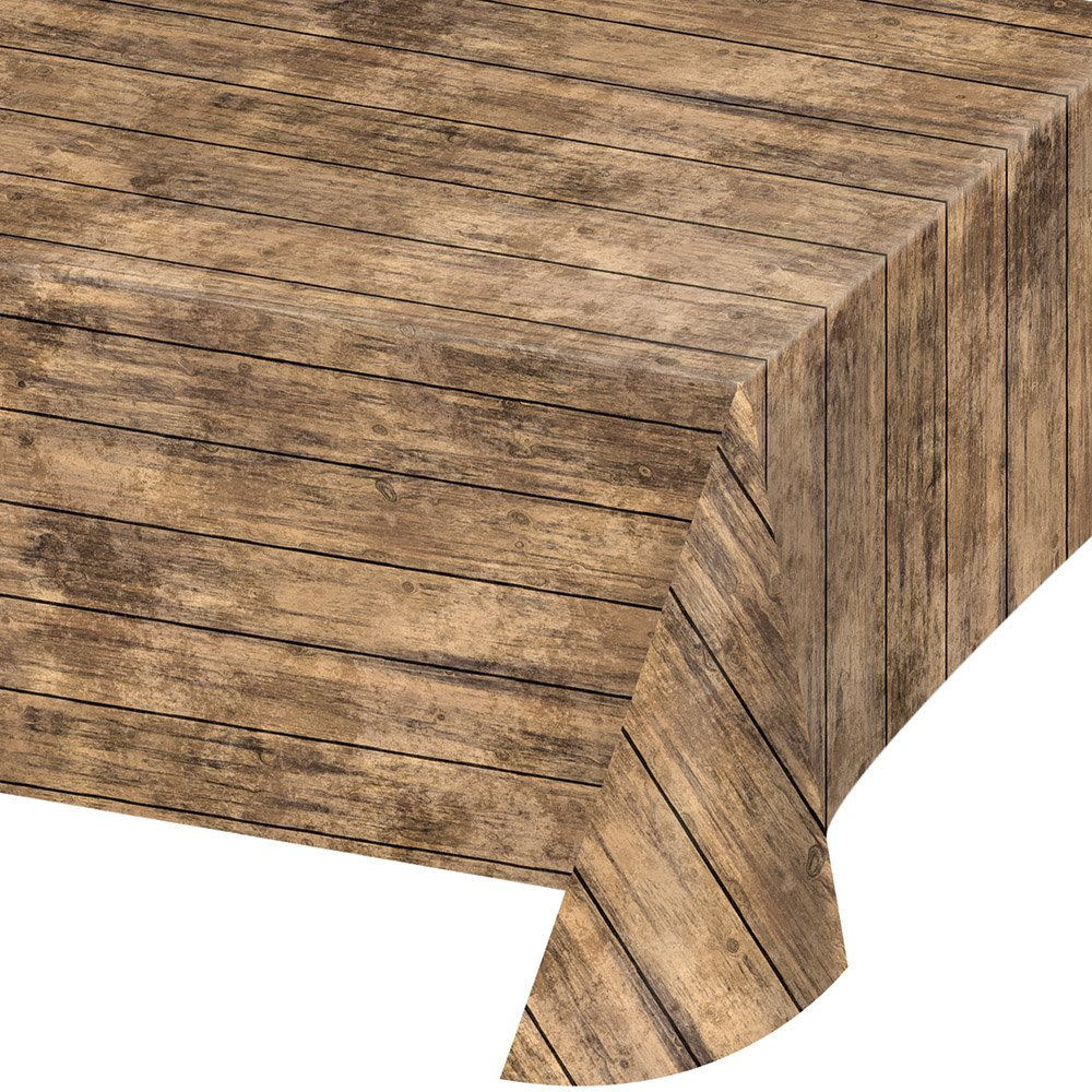 Creative Converting 329655 All Over Print Plastic Tablecover, Brown Wood